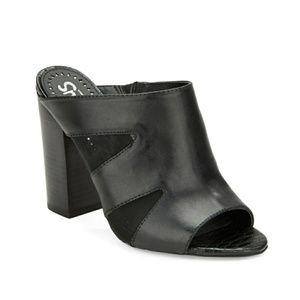 Sam Edelman Circus black leather chunky heel/mule